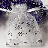Omeny Snowflake coulisse organza regalo (bianco)