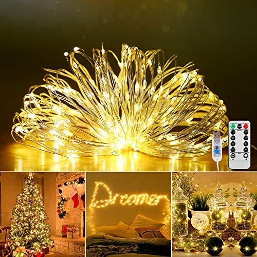 Stringa Luci LED, 20m 200LEDs 8 Modalità di Luci Catene Luminose, Impermeabile IP67 Catena Luminosa con Telecomando, Lucine LED Decorative per Natale, Feste, Matrimoni, Vacanze, DIY(Luce Gialla Calda)