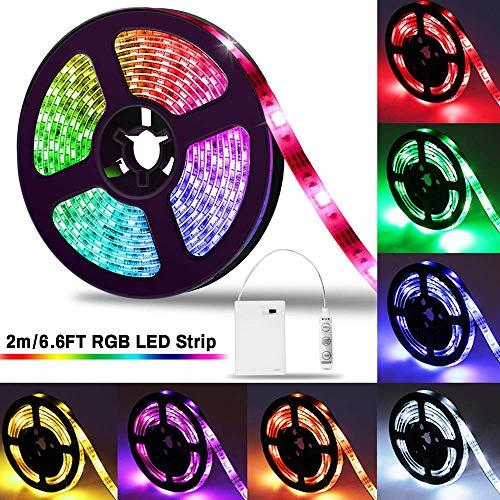 LED Strip 2m, SOLMORE LED Striscia LED a Batteria 2M 5050 RGB Strisce Dimmerabile IP65 Impermeabile...