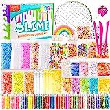 KUUQA 61 Pcs Slime Kit, incluyendo Fishbowl Beads, papel azúcar, rejilla, Googly Eyes, Shell, rebanadas, confeti, bolas espuma lodo, hoja imitación oro para la fabricación baba artesanía bricolaje