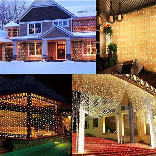 Tenda luminosa, Stringa Luminosa LED per Finestra Balcone 6 x 3m 600 LEDs, Luce Catena Bianco Caldo,...