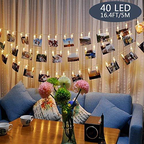 Tomshine Foto Clip Stringa di Luce 40 LED Alimentato a Batteria 5m/16.4 ft per il Soggiorno Camera...