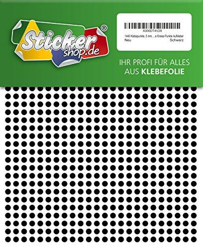 1440 Klebepunkte, 5 mm, schwarz, aus PVC Folie, wetterfest, Markierungspunkte Kreise Punkte Aufkleber