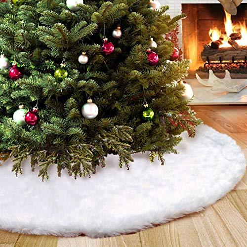 Aparty4u albero di Natale gonna 122cm, lusso in finta pelliccia pannello esterno dell'albero di Natale di Bianco Natale per Decorazione di festa di Natale