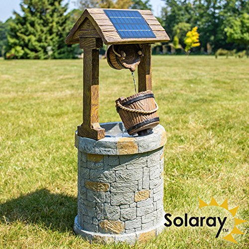 74cm Solar Powered Wishing Well Water Feature by Solaray