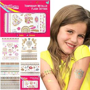 GirlZone Regalos para Niñas - Tatuajes Niñas - Pack de 65 Tatuajes Temporales para Niñas - Dorados, Metálicos Y Brillantes - Flash Tattoos 4 5 6 7 8 9 10 11 12 Años - Carnaval