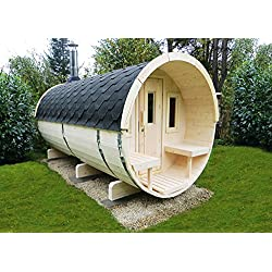Weka 198.0102.10.30 Premium-Saunafass Nikkala mit Leimholztür plus 4 Fenstern, inklusive SO 9,0 kW, Natur Unbehandelt, 400 x 200 x 210 cm