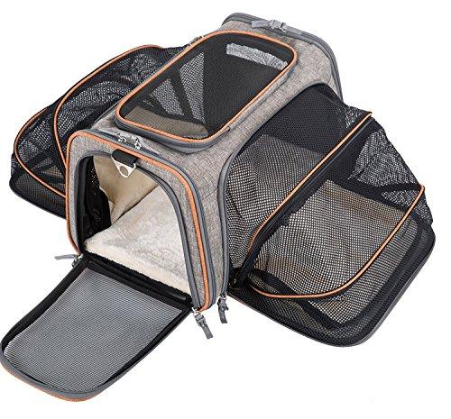 Movepeak - Transportín plegable para perros, gatos y cachorros aprobado por las aerolíneas - Incluye espacio para los artículos de tu mascota