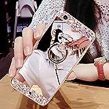 Custodia per Galaxy A5 2017,Specchio Custodia Cover per Galaxy A5 2017,Leeook Moda Lusso Brillante Diamante Bling Gomma Cellulare Protettiva Case in Argento Riflettente Ultra Sottile Flessibile Anti Graffio Trucco Mirror Back Cover Antiurto Morbida Silicone Tpu Bling Copertura Shell Skin Bumper Cover con Orso Anello Kickstand per Samsung Galaxy A5 2017 + 1 x Nero Stilo Orso,Argento