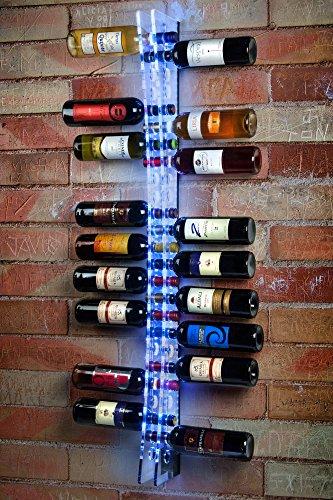 Portabottiglie Porta Bottiglie da vino a muro in plexiglass 25 Bottiglie con luce a LED - Cantinette...