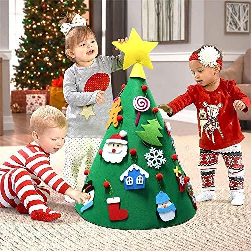 MuZhuo Albero di Natale Fai da Te, 3D Albero di Natale in Feltro Fai da Te con 18 Pezzi Albero di Natale Adorabile Ornamenti Appeso per I Bambini Decorazioni di Natale per La Casa