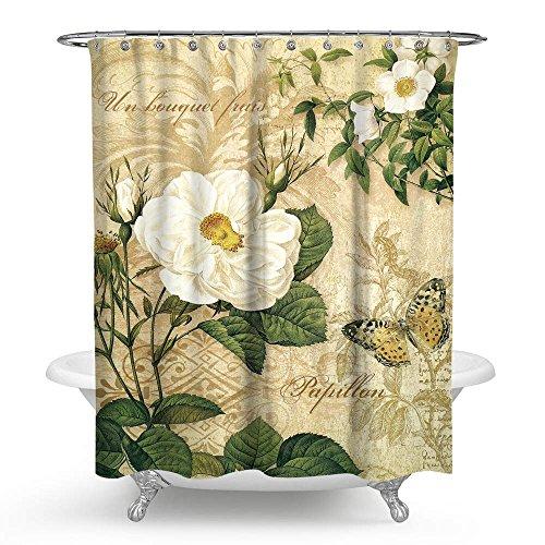 """kisy Vintage y Color blanco Floral Impermeable Baño Cortina De Ducha tamaño estándar cortina de ducha (Niñas como Retro Mariposa 70""""x 70,"""" vintage amarillo"""