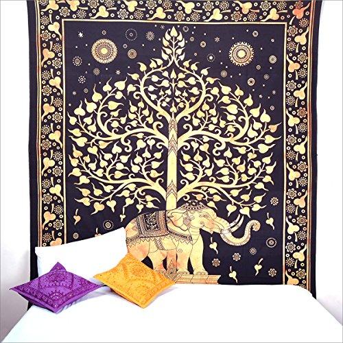 Wall Art Hippie tapices bohemio Mandala tapiz elefante color dorado, árbol de la vida tapiz