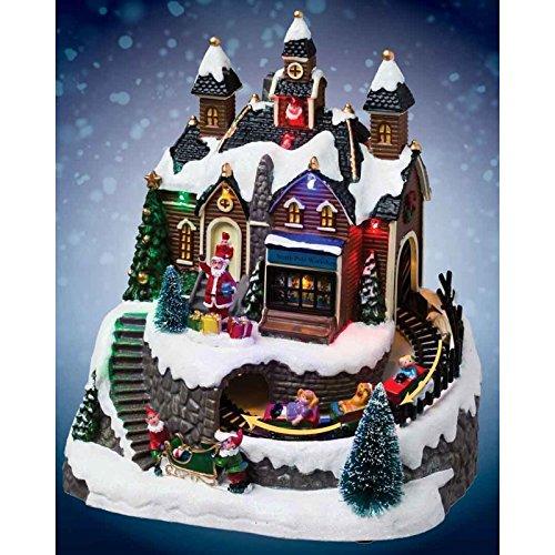 Weihnachtsdorf mit Beleuchtung Werkstatt und Weihnachtskarawane beleuchtet