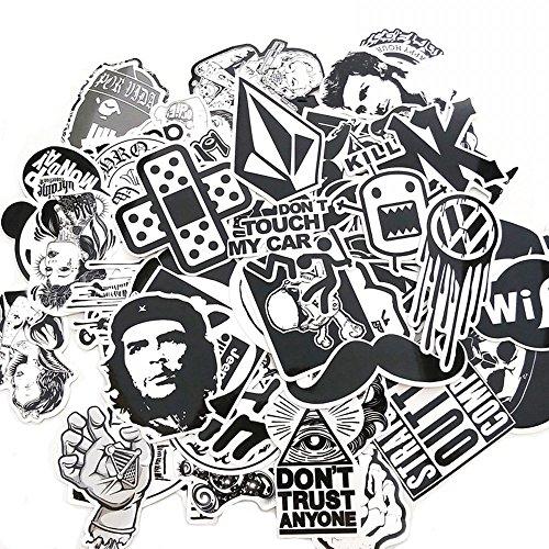 120 Stück schwarzer weißer Vinylaufkleber Graffiti-Abziehbild 2