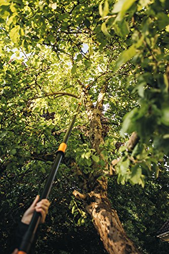 Fiskars PowerGear X Telescopic Tree Pruner UPX86, Non-stick Coated, Steel Blade/Aluminium Handle, Length 2.4 - 4 m, Black/Orange, 1023624