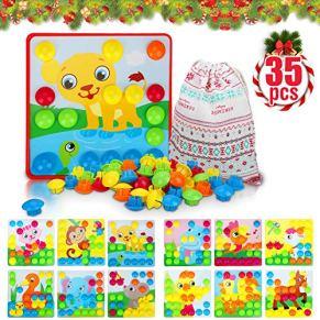 Tablero de Mosaico Infantiles Flyfun, Puzzle 3D Mosaico Infantiles de Fichas, Tablero de Coincidir colores con 35 botone y 12 patrone animales , Juguete Educativo Temprano para niños y bebés de 3+años