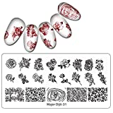 Ouneed® Nail Stamping Plaque Ongle Pochoir Feuille Chat/Mandala/ Polka...
