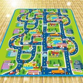 Alfombra de juego para niños, 0,5 cm de espesor. Diseño de ciudad con tráfico, 160 X 130cm