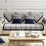 YANGYAYA Sofá de algodón Cubierta Protector,Vintage patrón Antideslizante Resistente a Las Manchas sofá Funda sofá Cubierta para Sala de Estar-Azul Marino 90X160cm(35x63inch)