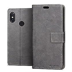 Kaufen RIFFUE Xiaomi Mi A2 (Mi 6X) Hülle, Retro Handyhülle Vintage PU Leder + TPU Case Tasche Cover Schutzhülle für Xiaomi Mi A2 / Mi 6X (5,99 Zoll) mit Kickstand und Card Slots - Gery