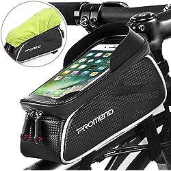 "Bolsa Bicicleta Cuadro Impermeable Bolso Manillar Bici Con Pantalla Táctil Sensible, Marco Tubo Funda Movil Bicicleta para iPhone X/ 8/ Plus Samsung S9/ S8/ S7 Bolsas Bici Telefono hasta 6,2"" (Negro)"