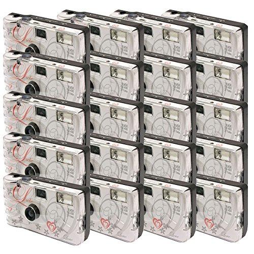 TopShot - Confezione 20 fotocamere usa e getta per nozze Love con flash, 27 foto, colore: Bianco