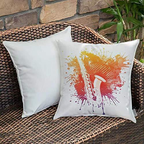 Creativo Decorativo Quadrato Federa Cuscino,Jazz Music Decor, grafica di Jazz Sax su uno sfondo inquietante colorato Grung,cuscini di per salotto divano camera da letto con cerniera invisibile,45x45cm