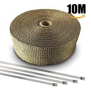 AODOOR Hitzeschutzband Auspuffband, Motorrad hitzeschutzband 10M mit Kabelbinder für Motorrad Fächerkrümmer Thermoband Krümmerband 8