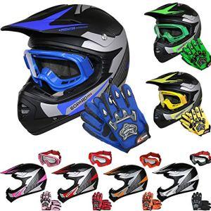 Leopard LEO-X19 Kinder Motocross MX Helm { Motorradhelm + Handschuhe + Brille} ECE Genehmigt Crosshelm Kinderquad Off Road Enduro Sport 4