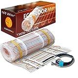 ECOFLOOR Fußbodenheizung elektrisch 160 Watt/m² Größe wählbar 1- 12m² Fußboden-Heizmatte Twin (1 m² = 2m Länge)