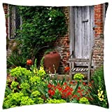 """Outside The South Cottage at Sissinghurst Castle Garden in Kent England - Throw Pillow Cover Case (18"""" x 18"""") Toss Pillow Covers"""