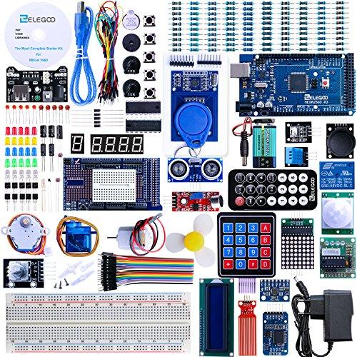 61DxdFvu gL - ELEGOO Conjunto Mas Completo y Avanzado de Iniciación Compatible con Arduino IDE Mega 2560 con Guías Tutorial en Español y Conjunto con Placa Controladora Mega 2560 R3, Servomotor, Motor Paso a Paso