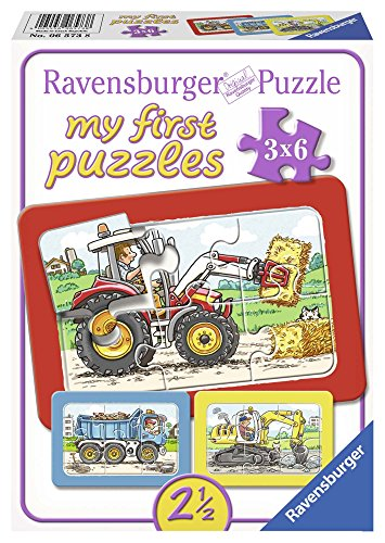 Ravensburger 06573 - My First Puzzle 3x6 Pezzi, Scavatrice, Trattore e Camion