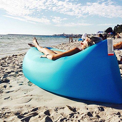 takestop Air Bag Lettino Gonfiabile Hangout Air Sacco A Pelo A Compressione Divano Sedia MATERASSINO Spiaggia Mare Banana Sleeping Bag Colore Casuale