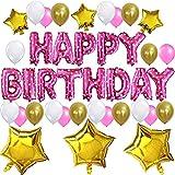 """KUNGYO Decoración de Fiesta de Cumpleaños Lindo Conjunto-Letras Tipo Balón Rosa """"Happy Birthday""""+21 Piezas Globo de Látex+6 Piezas Estrella-Brillante Cumpleaños Partido Fuentes para niña"""