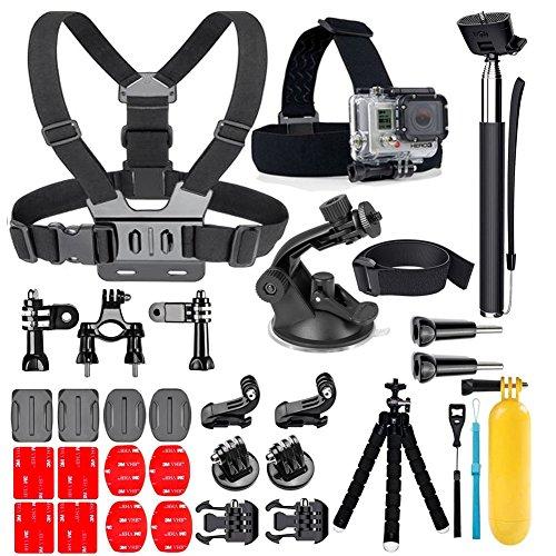 YEHOLDING 25-In-1 Accessori per Gopro,Kit di accessori per action camera per GoPro Hero 7 6 5 4 3 SJ4000 Xiaomi Yi DBPOWER e altre fotocamere per lo sport (25 in1)