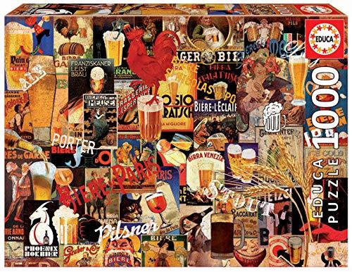 Educa Borras-1000 Collage Birra Vintage Puzzle, 17970