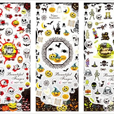 Halloween Autocollants de transfert à eau pour la décoration des ongles Halloween – HOT301-303 Nail Sticker Tattoo – FashionLife