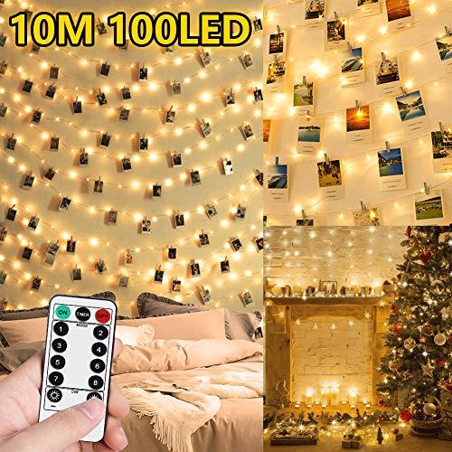 WEARXI Luci Led per Clip Foto - 10M 100 LED Impermeabile 8 Modalità Lucine per Polaroid Led...