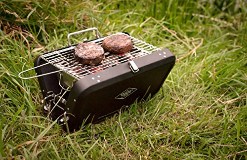 "This stylish BBQ is modelled as an old-fashioned gentleman's suitcase and should bring a touch of class to any spontaneous occasion. Decorated with the motto ""The Adventure Begins"", the suitcase is incredibly smart and becomes the centre of attention wherever it goes. Snap it open and you'll have an instant BBQ to cook a few burgers. Make sure to place it on level ground because the legs can easily lose balance. The overall design is great and the product is very much affordable. Ideal for short trips to the countryside."