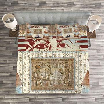 ABAKUHAUS Egipto Juegos de Fundas para Edredón, Legado Oriental Antiguo Egipto Faraón Momia Sargófago Retrato Arte Estampa, Lavable Colores No Destiñen, 264 x 220 cm, Taupe 4