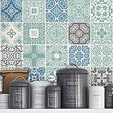 Moonwallstickers - Adhesivos para Azulejos, Revestimiento para PAREDES, para Baño y Cocina, Hazlo tu Mismo, Paquetes con 36 (Azulejos Azul Pastel - 10  x 10 cm)