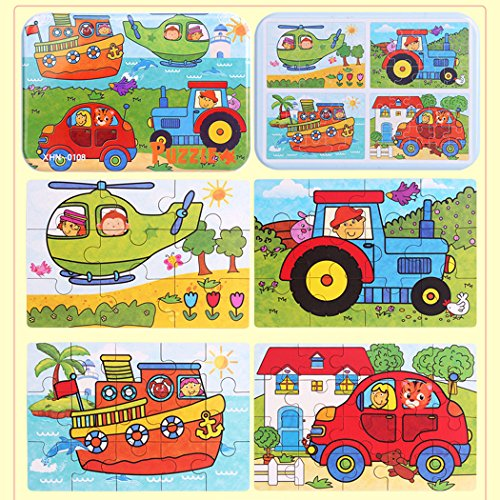 Sipliv Puzzle di puzzle in legno con scatola di ferro per bambini da 2 a 6 anni, 4 pezzi un set,...