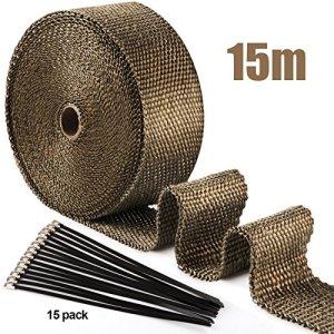 ilauke Isolierband für Auspuff, 10m x 5cm x 2mm, Schwarz + 7 Schellen aus Edelstahl 2