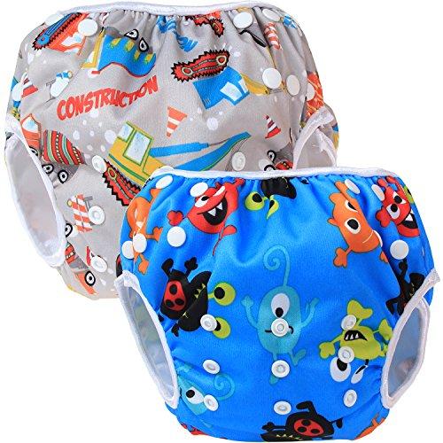 Teamoy 2pcs Baby Nappy riutilizzabile pannolino da nuoto, Construction+ Happy Night