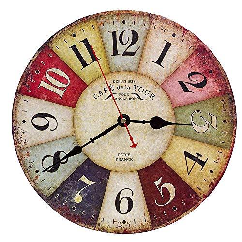 Orologio da Parete in Legno Vintage,30 cm Orologio Numerico Grande in Legno Retro,Silenzioso No Tick...
