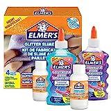 Elmer's 2083515 - Pour Slime pailleté avec colles pailletées bleu et violet + 2 flacons le liquide magique activeur pour slime - kit de 4 produits
