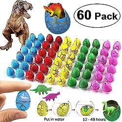 GBD 60 Pack Huevos de dinosaurio de pascua Huevos de eclosión Huevos de pascua eclosionan y crecen en el agua Novedad Juguetes de dinosaurio para niños Niñas Niños Fiesta de Pascua Favores Suministros