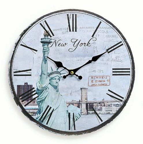 levandeo Orologio da parete in legno 29cm-Motivo: America USA New York Statua della Libertà-Orologio da cucina orologio numeri romani quarzo orologio